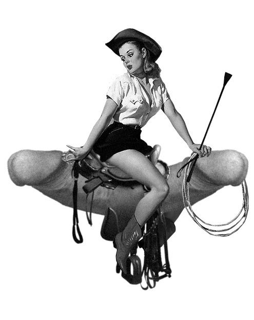 Ilustración de Señora Milton en el que una mujer pin up vestida de vaquera monta sobre dos penes gigantes.