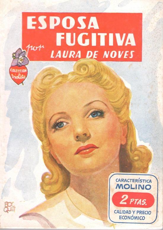 Portada de la novela rosa Esposa y fugitiva escrita por Laura de Noves (pseudónimo de Carlota O´Neill)