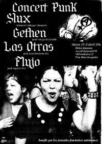 Cartel del concierto anarcofeminista organizado para recaudar fondos para las jornadas feministas autónomas (Barcelona, abril de 2013).