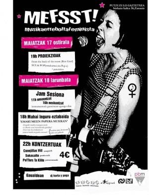 Cartel de las Jornadas 'Musika Errebolta Feminista', organizadas por Bilgune Feminista y Putzuzulo, gaztetxe de Zarautz (Gipuzkoa, mayo de 2013).