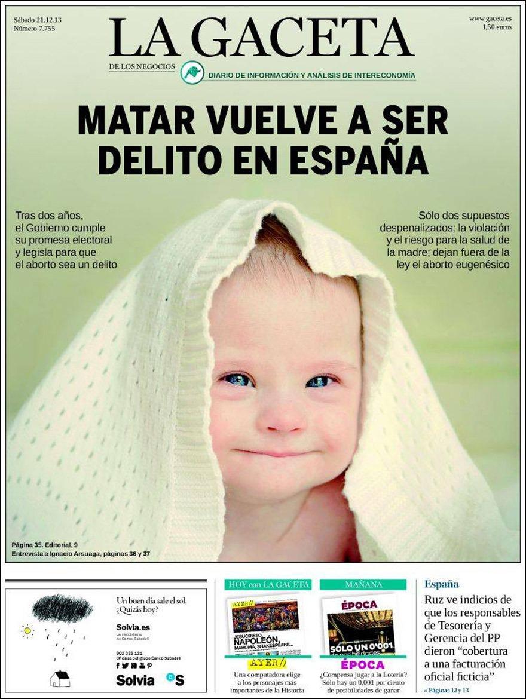 La-GacPortada de La Gaceta que recuerda que hay un montón de peligrosas asesinas sueltas por ahíeta-Aborto-Pikara