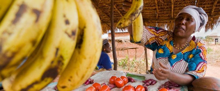 Una mujer de Tanzania vende su fruta en el distrito de Kiru. / J. Marcos mujer boliviana recolecta café ecológico en la provincia Santa Cruz. / J. Marcos