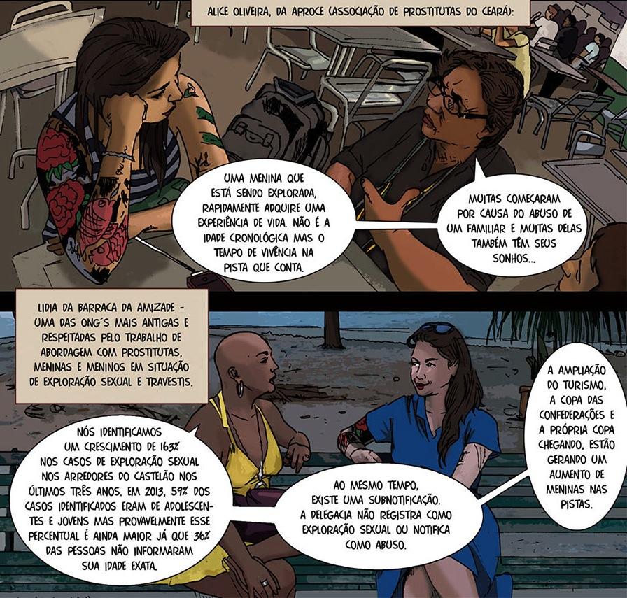 Viñetas del segundo capítulo del reportaje en cómic 'Meninas em jogo'