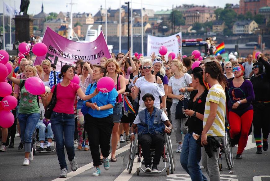 Integrantes de Iniciativa Feminista, durante la marcha del Orgullo LGTB en 2010./ Fredrik Wass