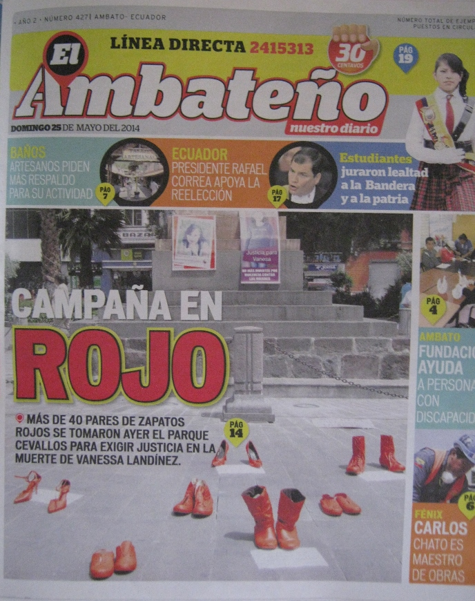 Portada del diario El Ambateño, del 25 de mayo de 2014
