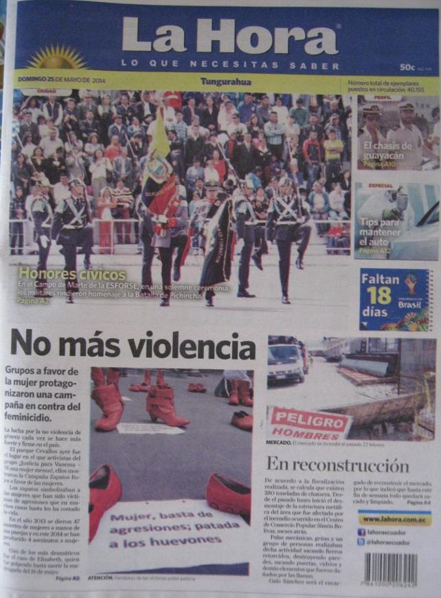 Portada del diario La Hora, del 25 de mayo de 2014