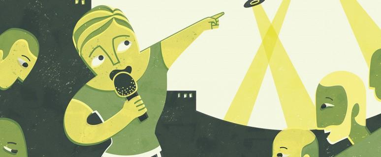 La imagen es una ilustración de Emma Gascó de una periodista con un micrófono y rodeada de hombres.