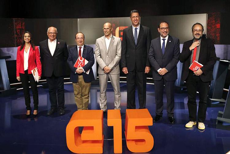 Foto de un debate televisivo entre los cabezas de lista a las elecciones catalanas