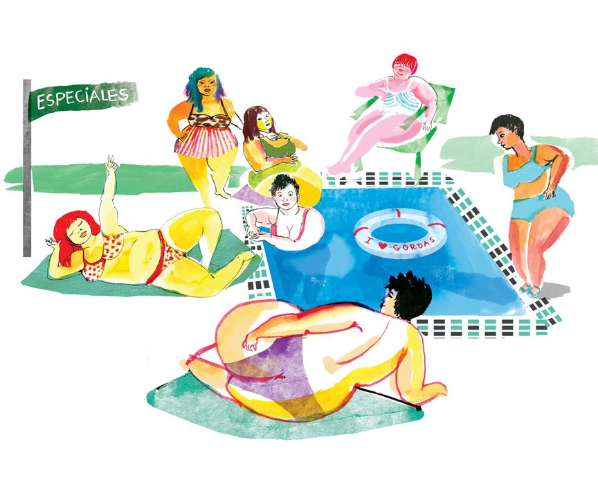 Ilustración de Núria Frago para el texto 'Gorda', de María Unanue, publicado en el tercer número de Pikara en papel