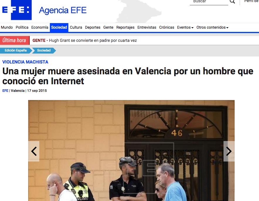 """""""Muere asesinada por hombre que conoció en Internet"""""""