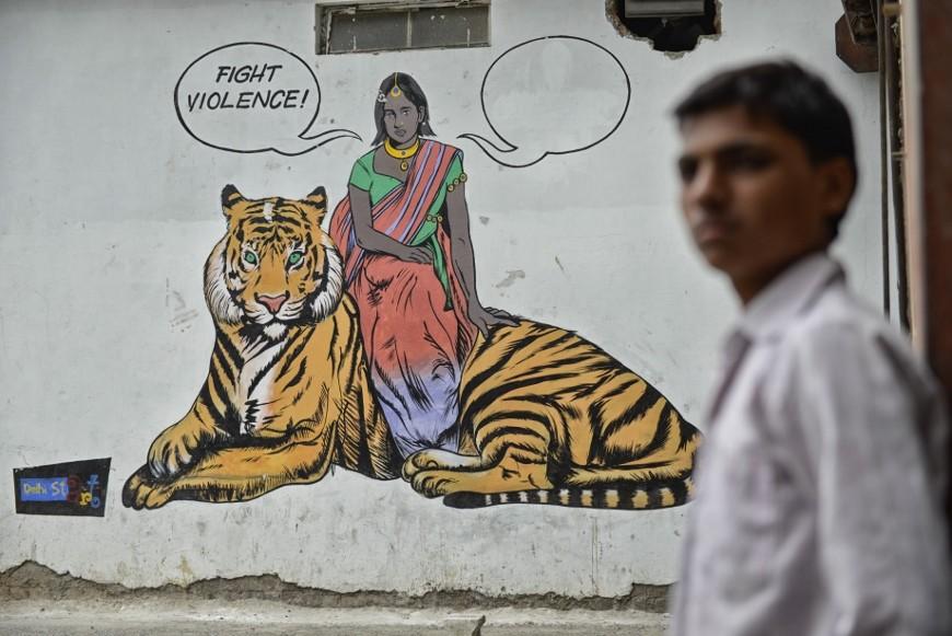 Mural en Delhi contra la violencia machista y en favor del empoderamiento de la mujer./Z.A.