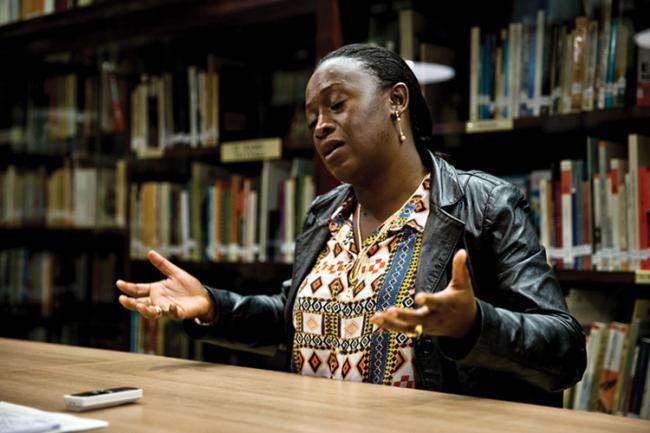 Caddy Adzuba durante la entrevista