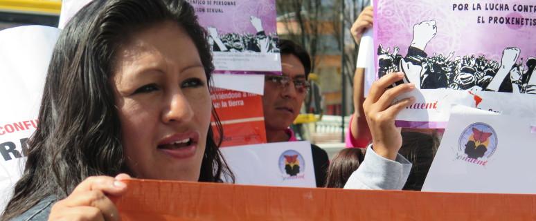 Adriana participa en la marcha para reclamar derechos laborales y sociales./ I.G.