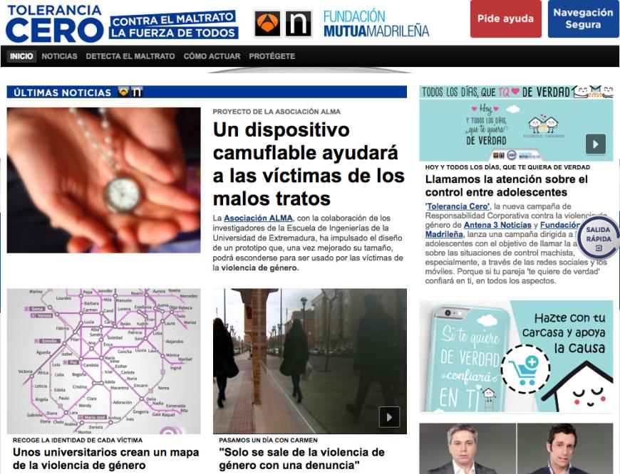 Sección sobre violencia de género en la web de Antena 3