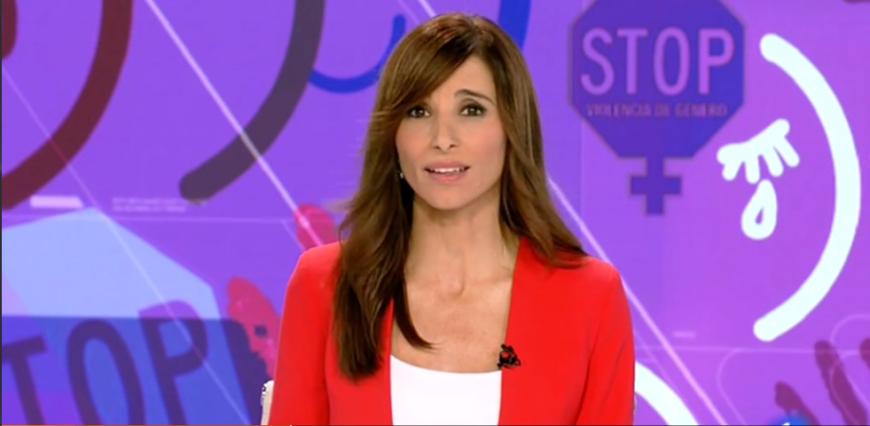 En el Telediario de TVE utilizan un croma de fondo con la leyenda 'Stop Violencia de Género'