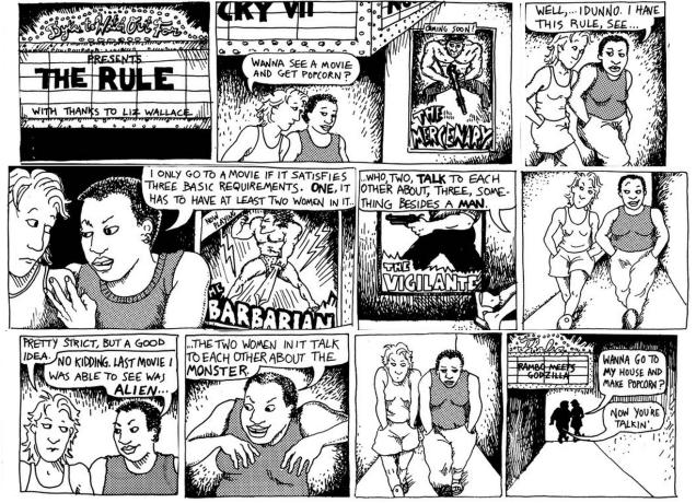 La famosa tira de Alison Bechdel con la que se popularizó este test
