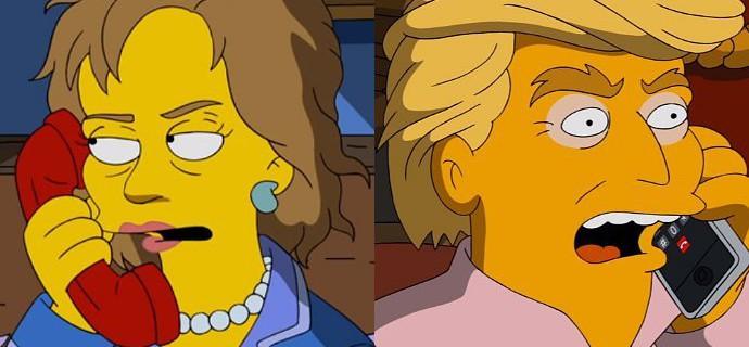 Hillary Clinton y Donald Trump en Los Simpson