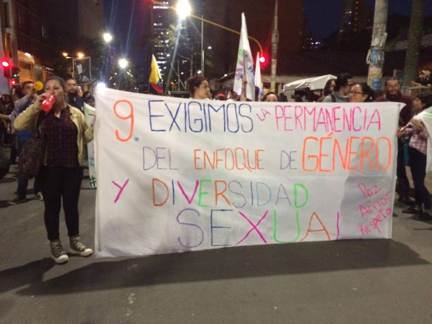 Marcha en defensa del enfoque de género y en los Acuerdos. /Foto:  Comisión de Género de Paz a la Calle