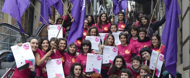 Emakumeen espetxe martxa feministara hurbildutako taldea./ Bilgune Feminista
