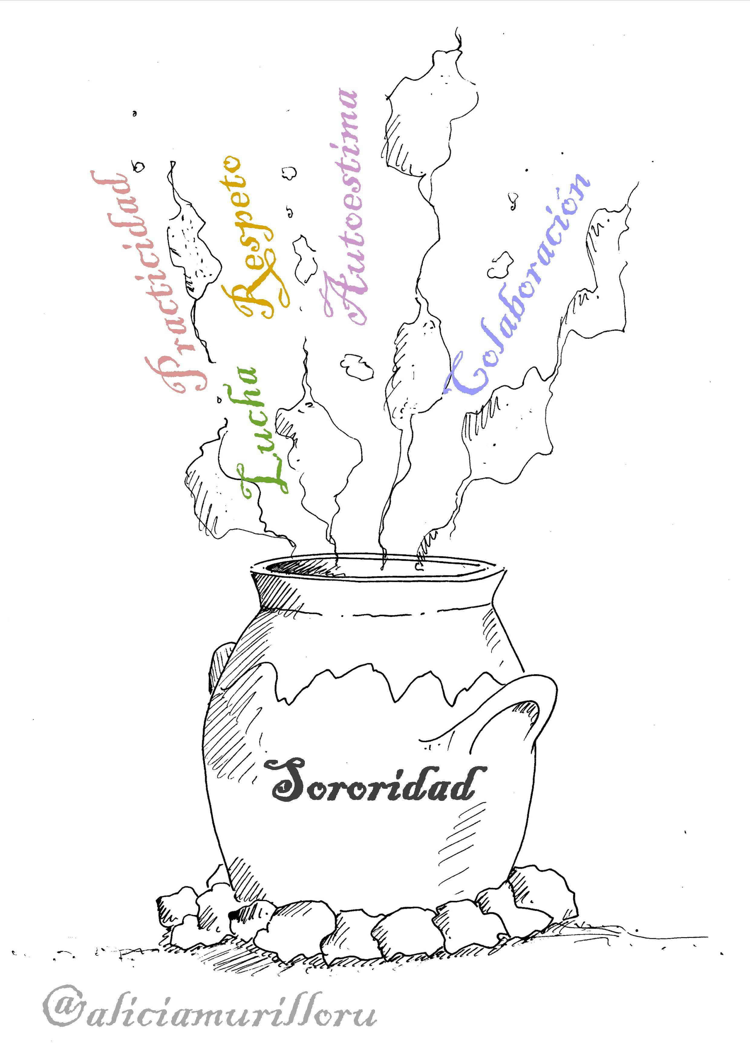 sororidad ilustración con textos