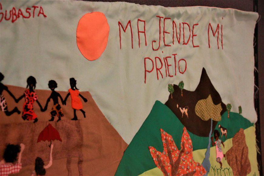 'Ma Jende Mi Prieto', tapiz expuesto en el Museo Nacional de Colombia, que narra la historia de los habitantes de la zona desde la llegada de sus-antepasados, los esclavos traídos de África. / Foto: María Rado