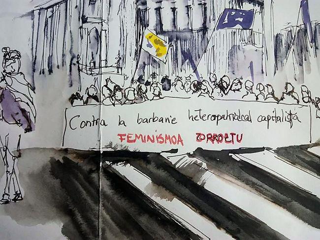 Ilustración de la manifestación del 8 de marzo hecha por las integrantes de Dibujatolrato
