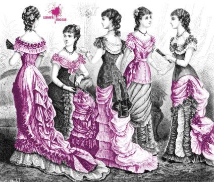 Mujeres de la burguesía con corsés