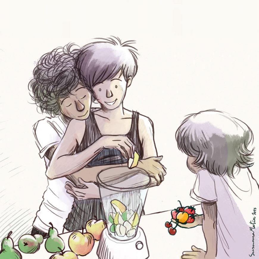 Ilustración de Susanna Martín sobre maternidad lésbica
