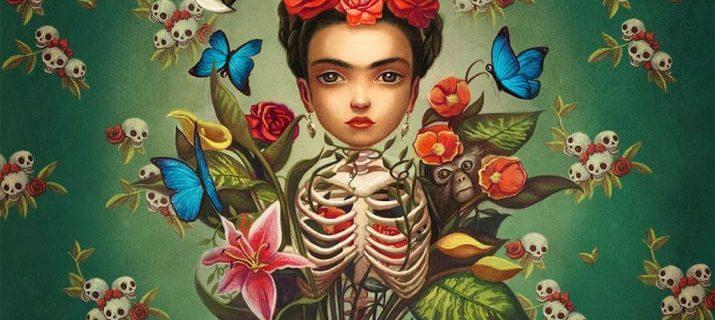 Ilustración de Frida Kahlo con un cuerpo de esqueleto sobre un fondo verde