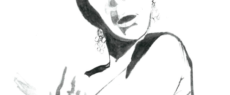 Ilustración de María Arjona Montes en la que aparece una mujer cantando copla