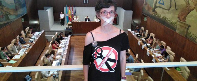 Sara Carbajal, durante un pleno del Ayuntamiento de Leganés.