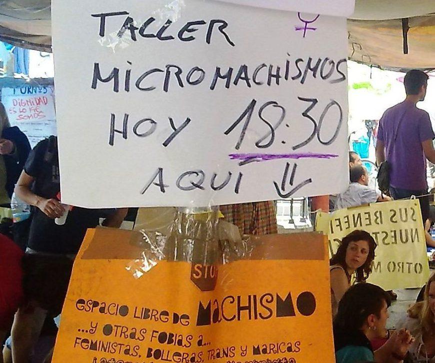 Cartel que anuncia un taller de micromachismos en la acampada del 15M en Sol.