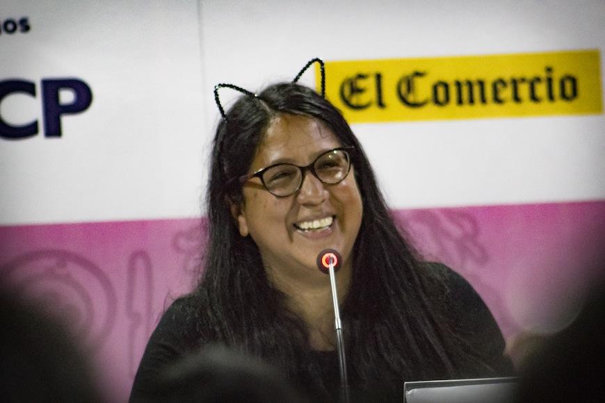 La escritora, durante la presentación del libro./ Zory Ghiglino