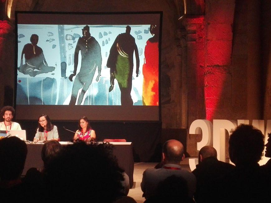 Chelo Loureiro presentando 'El sueño de la sultana' en el Festival 3DWire./ Esther Marín