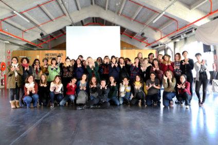 Todas la participantes en la editatona de cine. / Foto: Laura Rebollo