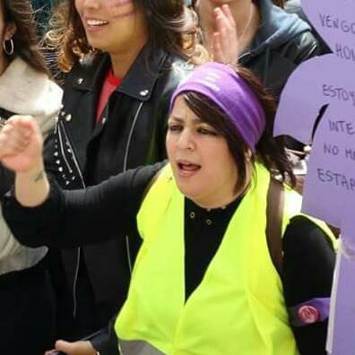 Afaf el Halaoui en la manifestación del pasado 8 de marzo en Bilbao