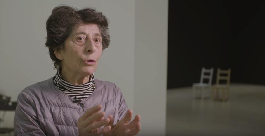 Esther Ferrer durante la inauguración de su exposición en el Guggenheim de Bilbao./ Foto cedida por el Museo