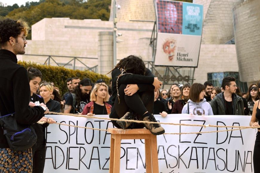 La protesta ha sido impulsada por el alumnado de Bellas Artes./ S.V.