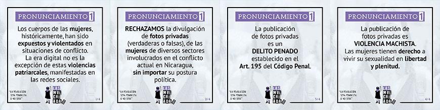 Afiches del colectivo Las Malcriadas sobre la publicación de fotos íntimas de mujeres manifestantes.