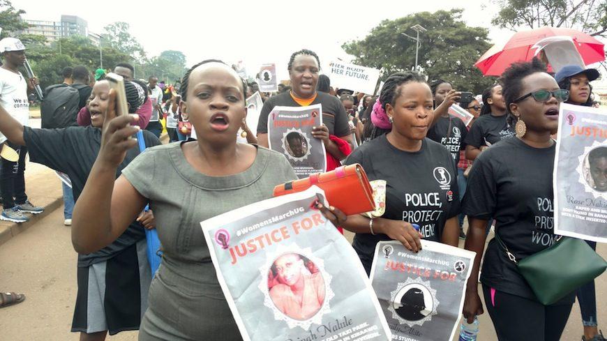 Manifestantes contra el feminicidio el pasado 30 de junio en Kampala./ Foto tomada del Facebook de Women's Protest Working Group
