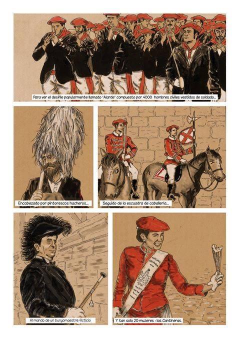 En el Alarde, los hombres son protagonistas y las mujeres adorno./ Página del cómic de Iñigo Goicoechea