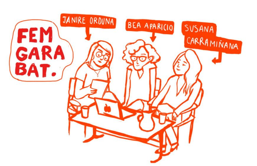 Dibujo de Susana Viñolo sobre las integrantes de Femgarabat.