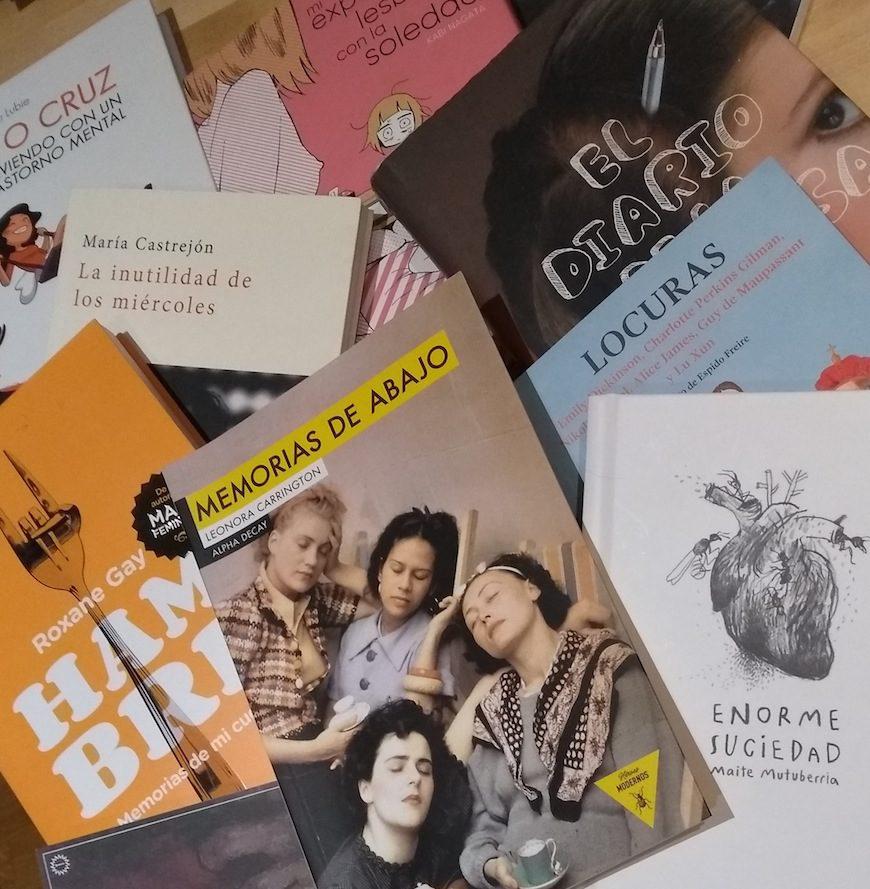 Portadas de distintos libros de autoras psiquiatrizadas o con sufrimiento psíquico grande que hablan sobre salud mental./ Marta Plaza