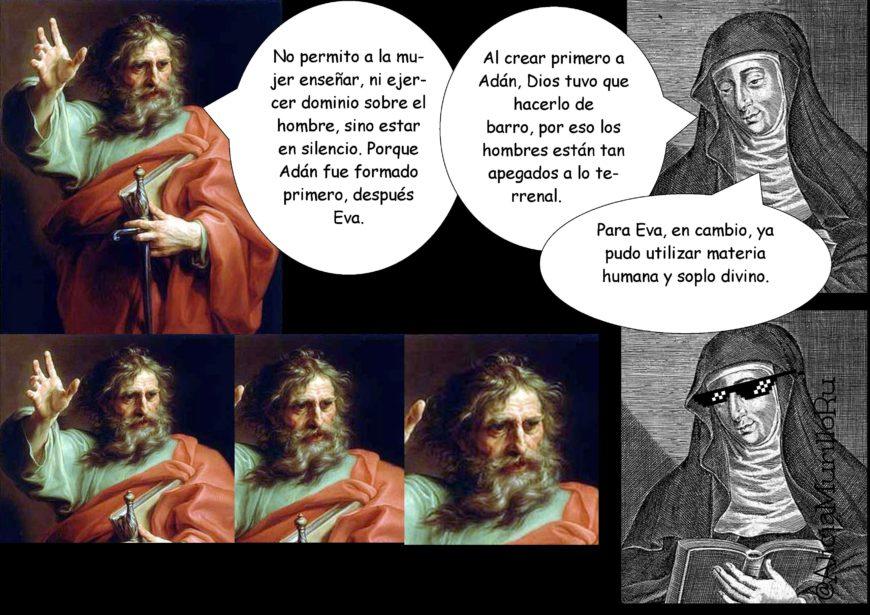San Pablo y Santa Hildegarda en un meme de Alicia Murillo