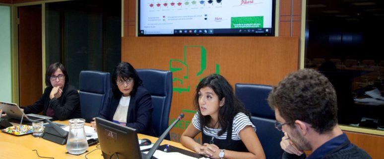 Yuly Jara (centro) y Miguel Egea (derecha) en su intervención en la Comisión de Educación. / Foto: Eusko Legebiltzarra/Parlamento Vasco