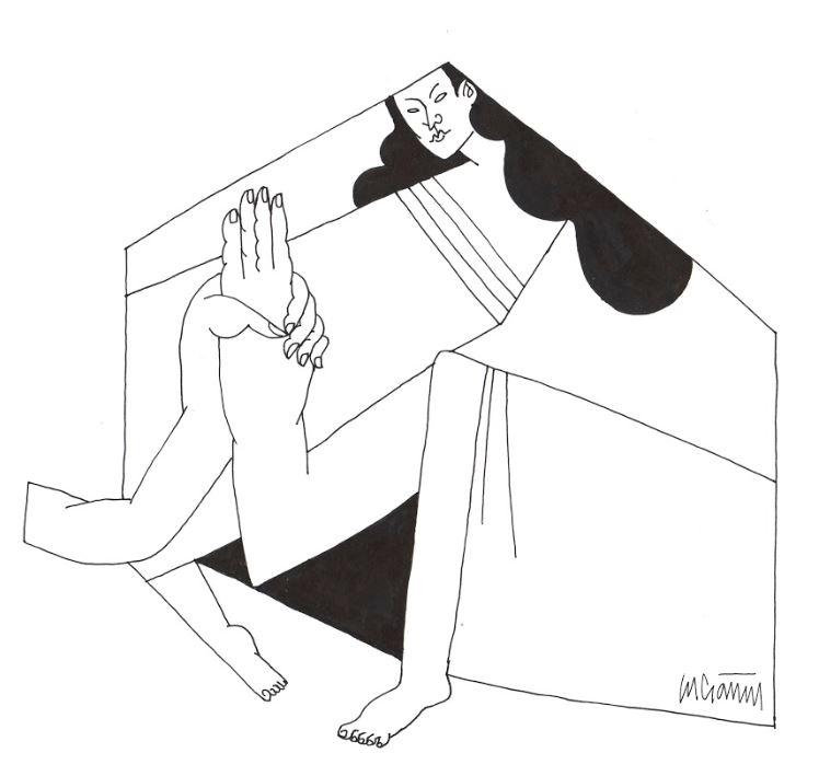 Mujer privada. / Mujer devota. / Ilustración de Lucía Naval @nunilobiloba.