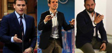 El trío de moda: Albert Rivera, Pablo Casado y Santiago Abascal.