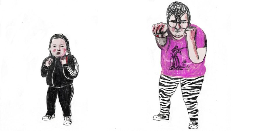 Una niña y una bollera adulta en actitud de autodefensa./ Ilustración: Ana Penyas