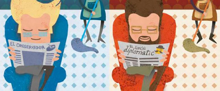 """En la imagen aparecen dos hombres. Uno de azul y otro de rojo. Ambos leyendo un periódico. El de azul representa a una hombre de derechas y el de rojo a uno de izquierdas. Detrás de ambos hay una mujer limpiando mientras ellos leen. Abajo le sigue la frase: """"No hay nada más parecido a un machista de derechas que un machista de izquierdas""""."""