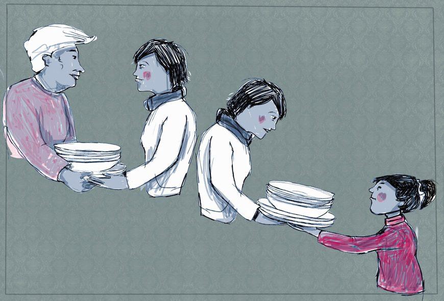 Mujeres de tres generaciones se pasan platos./ Ilustración de Glòria Vives